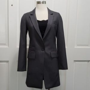 Long Charcoal Fitted Blazer